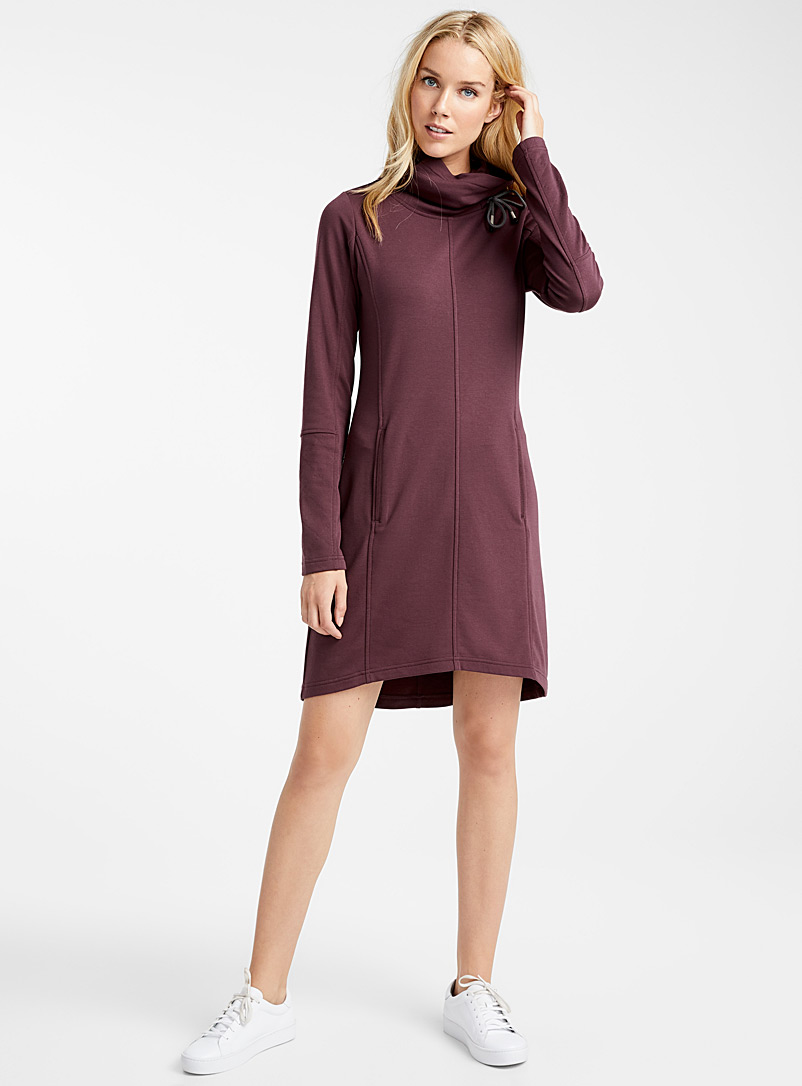 Modal jersey drawcord collar dress - Straight - Ruby Red
