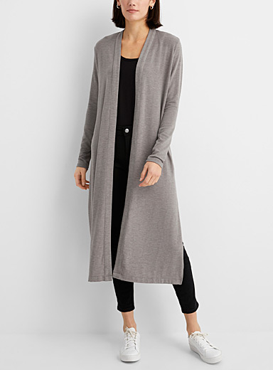 Lolë Grey Long soft jersey cardigan for women