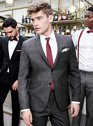 Pink-accent charcoal suit  Berlin fit - Regular