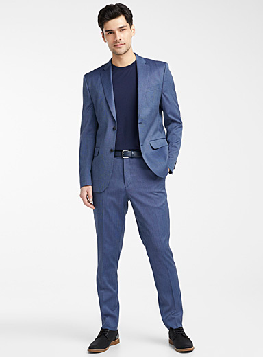 Le 31 Blue Chambray jacquard suit  Stockholm fit - Slim for men