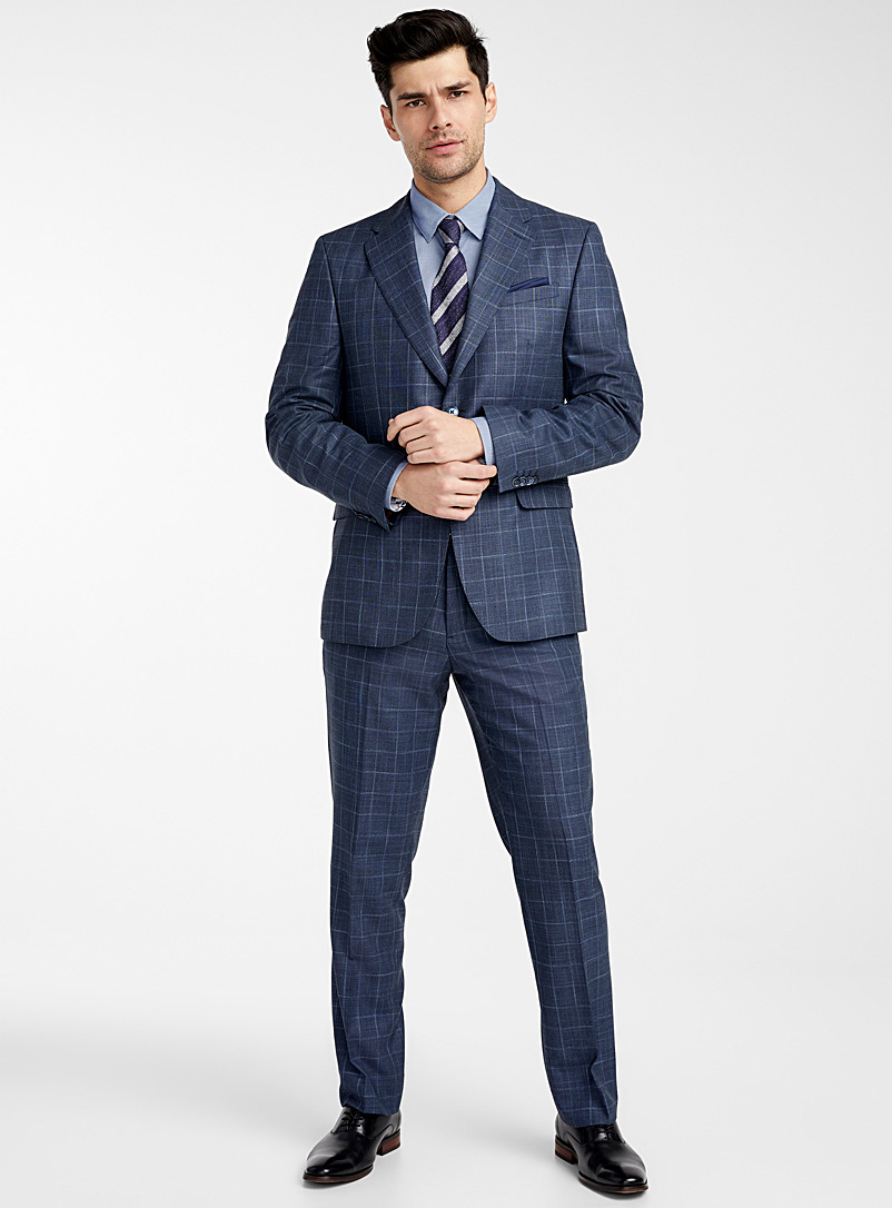Le 31 Blue Etched windowpane check suit  Berlin fit-Regular for men