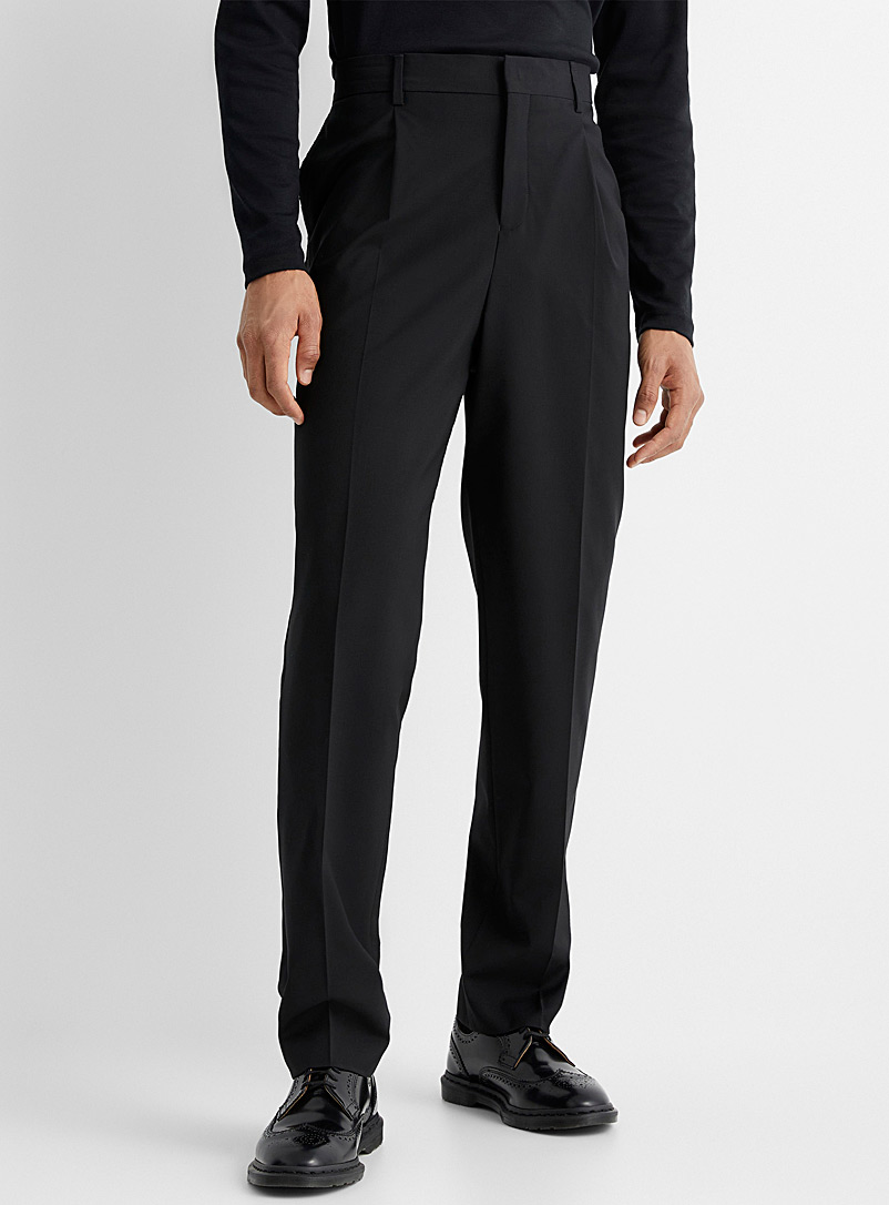 Le 31 Black Marzotto flat-pleat pant  Reykjavik fit-Anti-fit for men