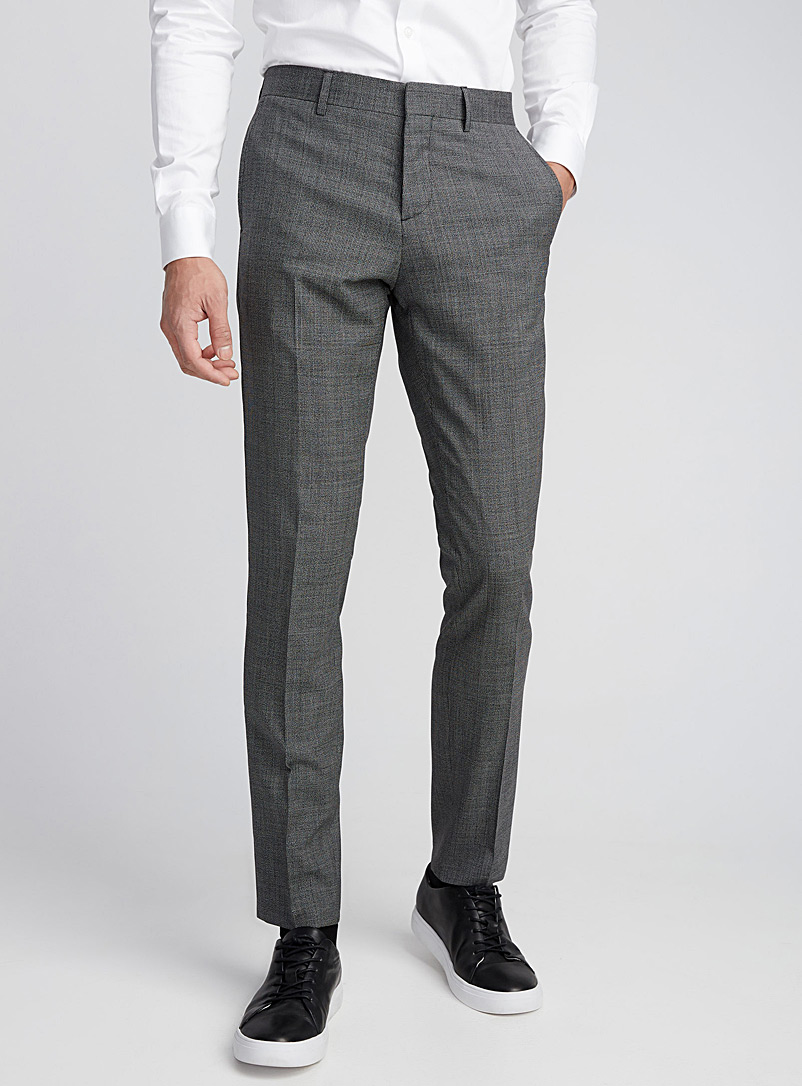 Micro-houndstooth heathered pant  Stockholm fit - Skinny - Tailored - Patterned Black