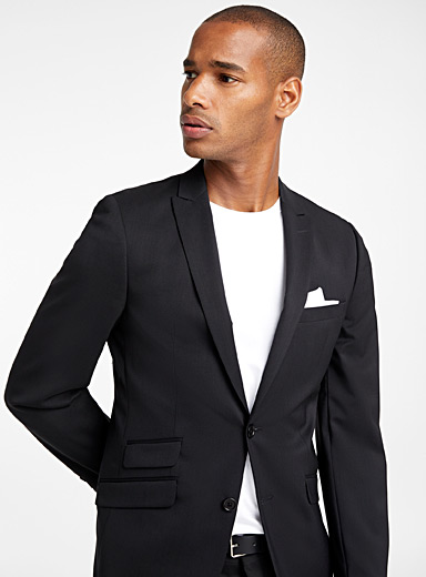 Le 31 Black Italian Marzotto wool jacket  Stockholm fit - Slim   for men