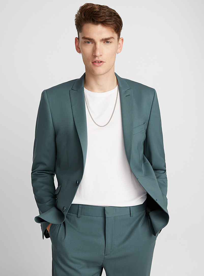Italian Marzotto wool jacket  Stockholm fit - Slim   - Slim Fit - Kelly Green