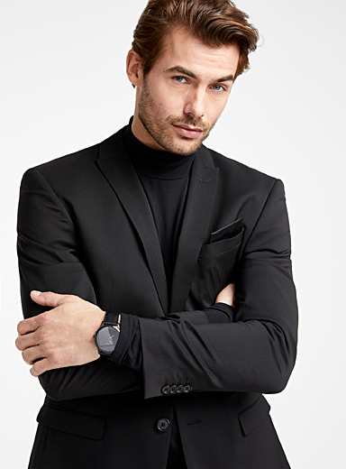 Le 31 Black Marzotto pure wool jacket  Stockholm fit - Slim for men
