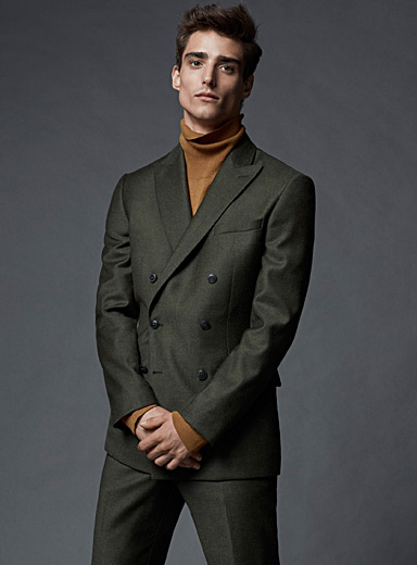 Olive double-breasted jacket