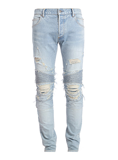 Distressed ribbed insert jean