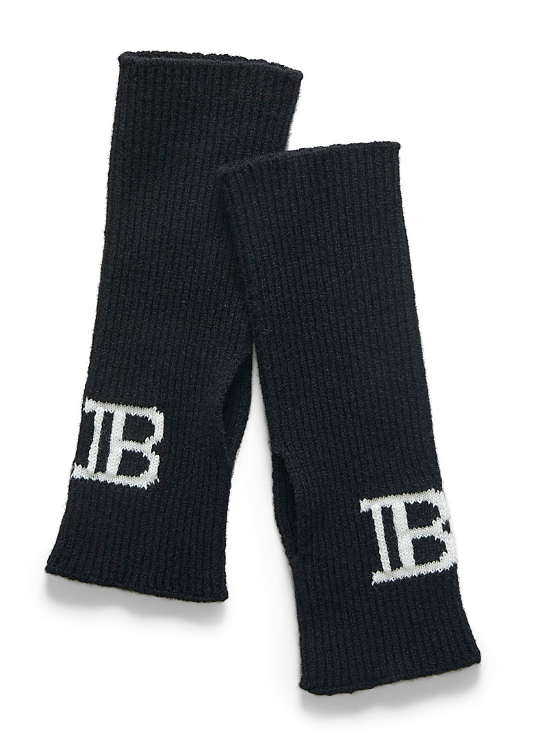 Balmain Black Monogram wrist warmers for men