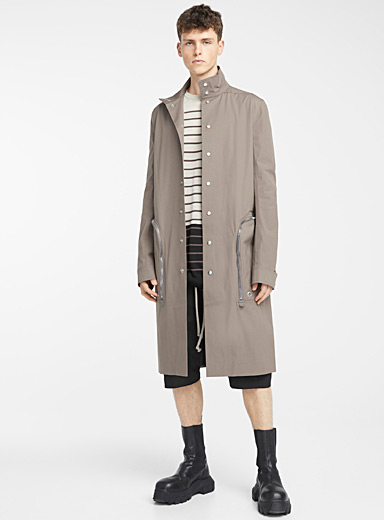 Rick Owens Light Grey Creatch Pealab trench for men