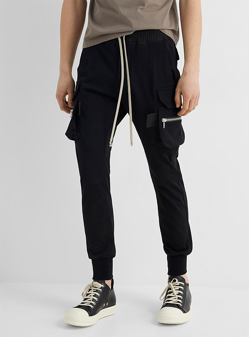 Rick Owens Black Mastodon cargo joggers for men