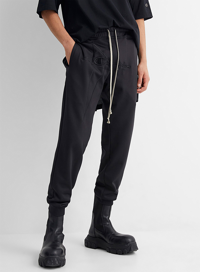 Rick Owens Black Embroidered logo joggers for men