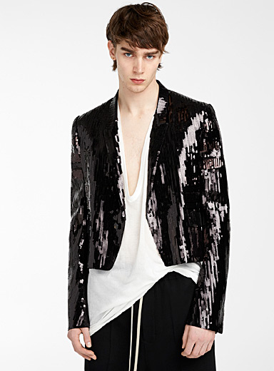 Rick Owens Black Spencer sequined blazer for men