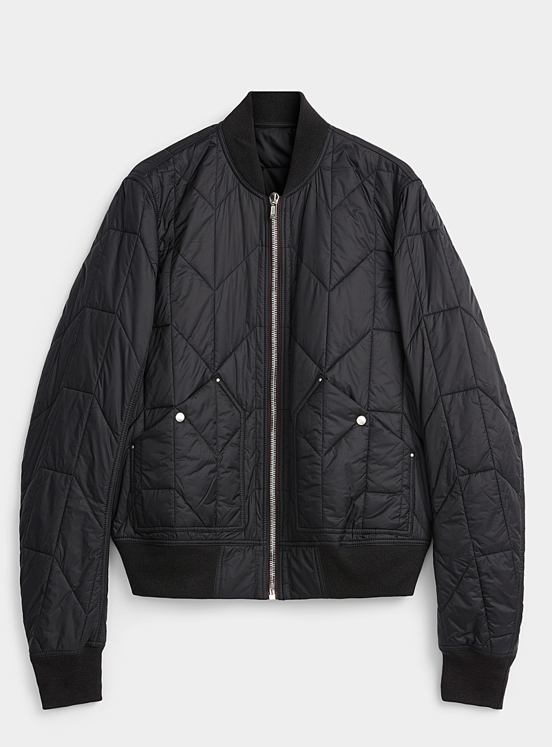 Rick Owens Black Geo quilted cropped bomber jacket for men