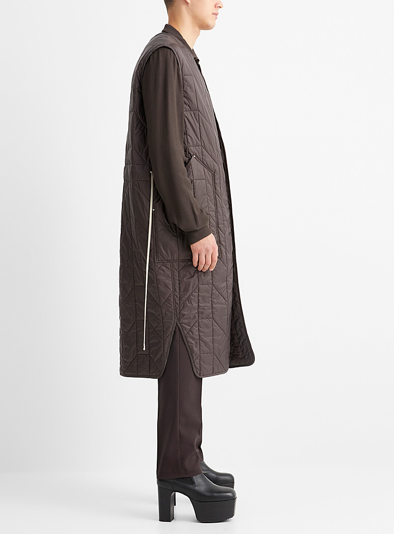 Rick Owens Patterned Grey Long sleeveless quilted jacket for men