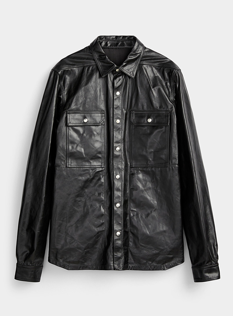 Rick Owens Black Shiny leather overshirt for men