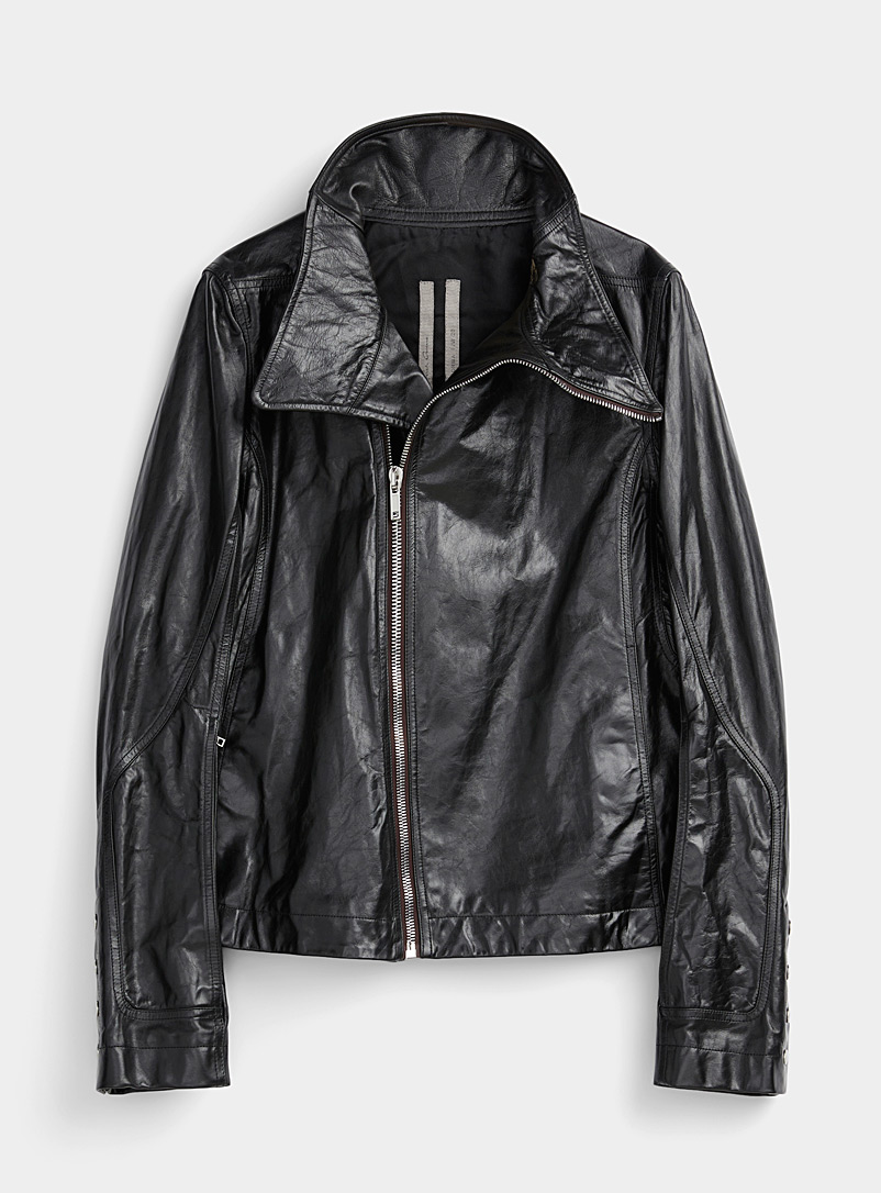 Rick Owens Black Bauhaus leather jacket for men