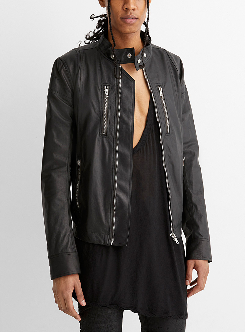 Rick Owens Black Zip pocket leather jacket for men