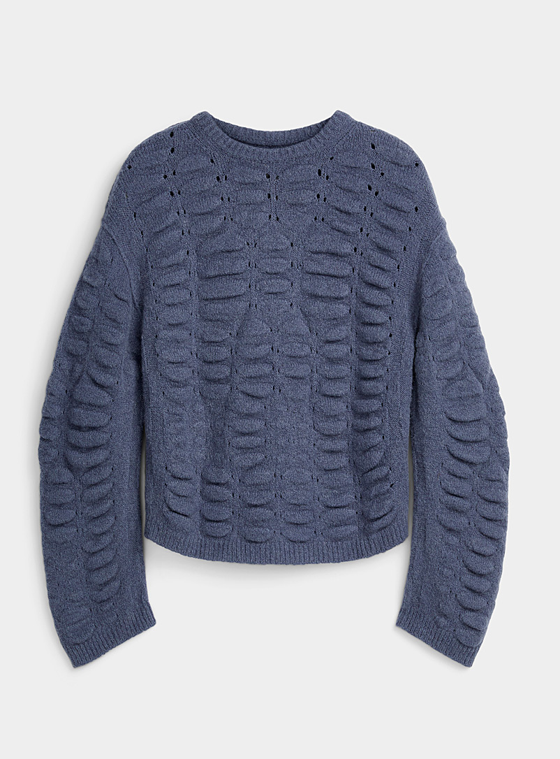 Rick Owens Marine Blue Bubble-texture sweater for men