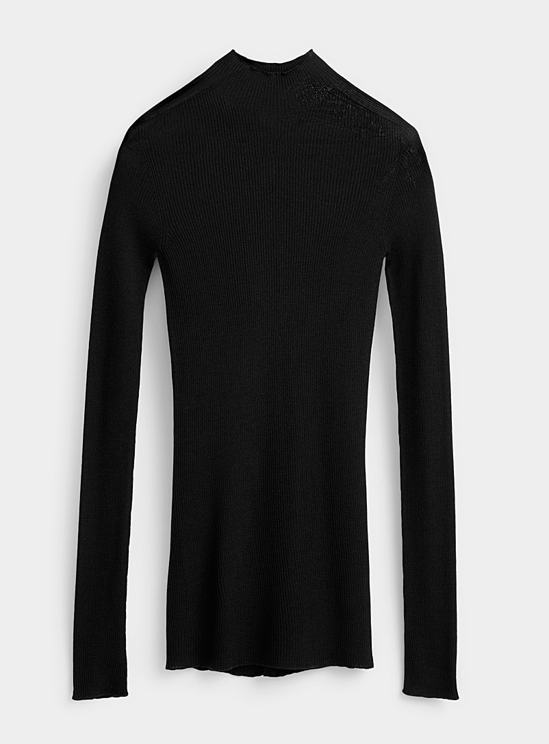 Rick Owens Black Finely-ribbed sweater for men