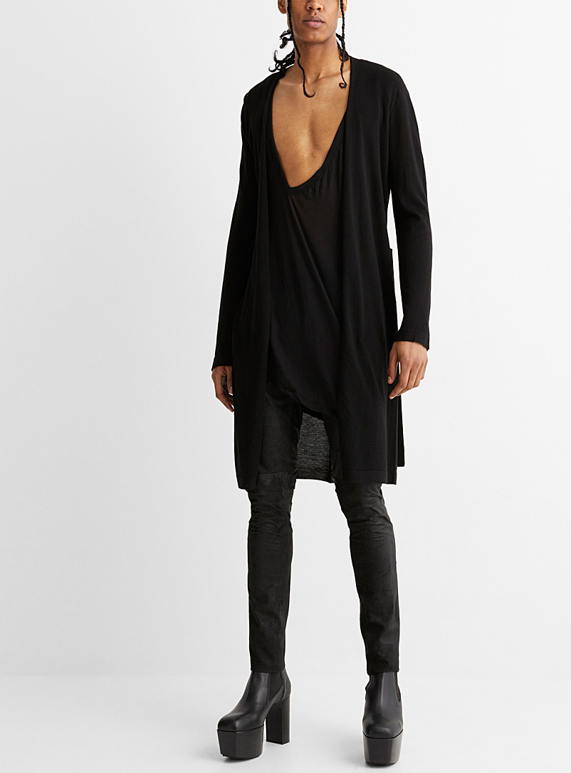 Rick Owens Black Sascha ultra-long black cardigan for men