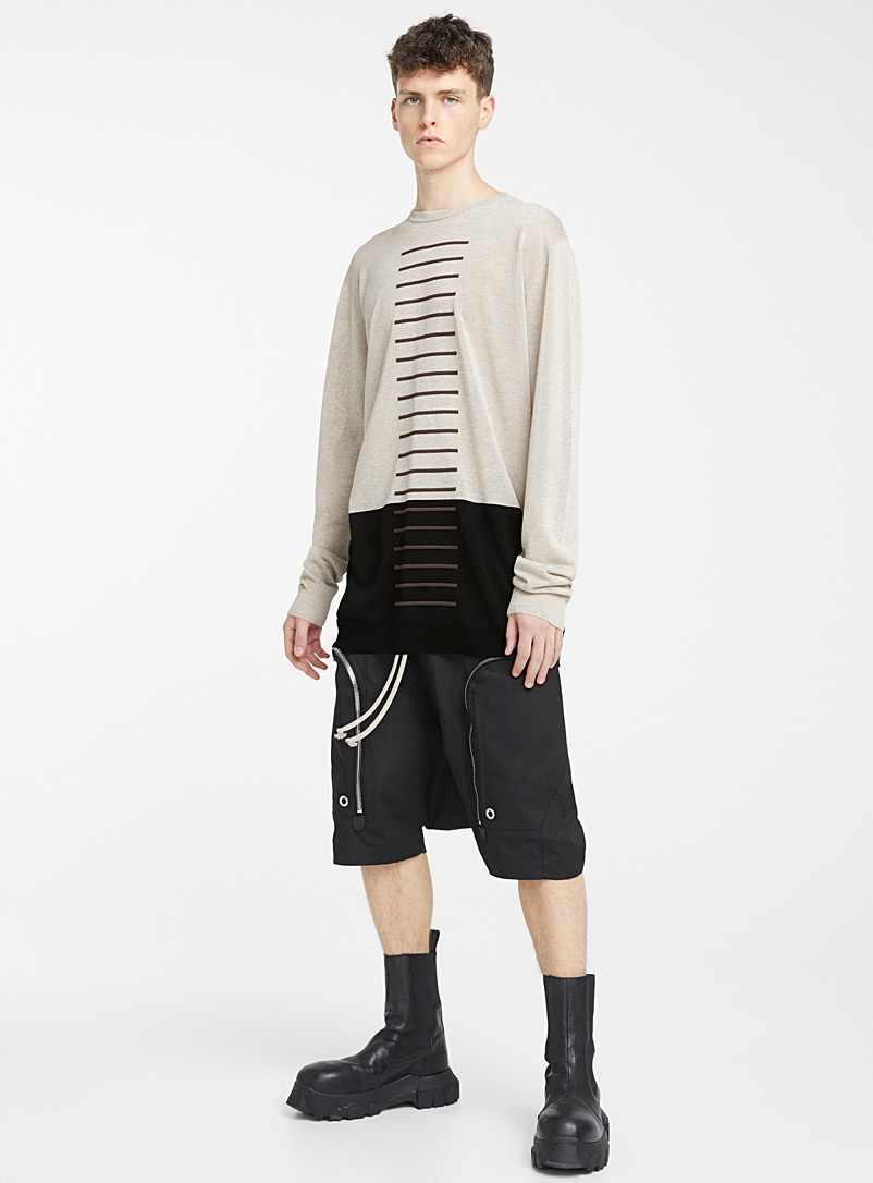 Rick Owens Black Oversized crew neck sweater for men