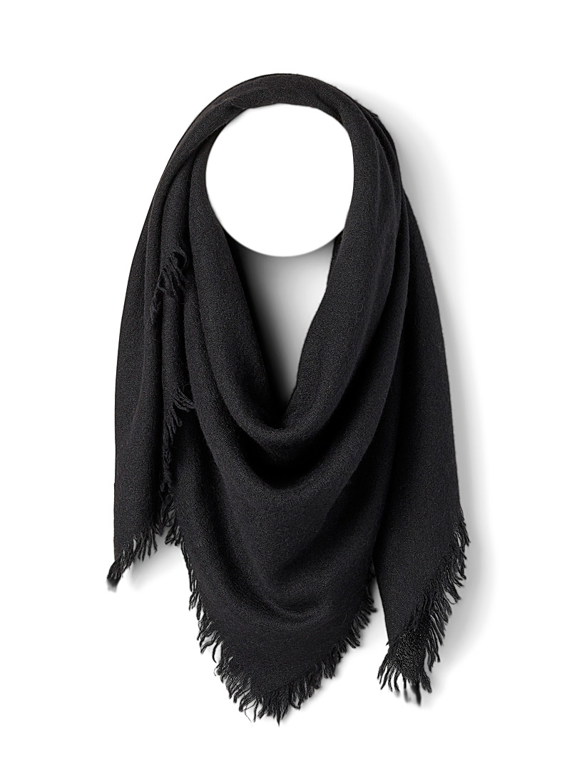 Rick Owens Black Fringed alpaca scarf for men