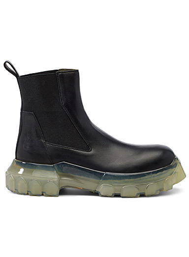 Rick Owens Black Larry Bozo Tractor Beetle boots for men