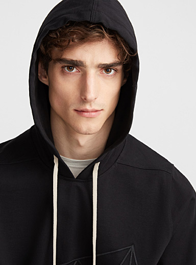 Tone-on-tone embroidery hooded sweatshirt