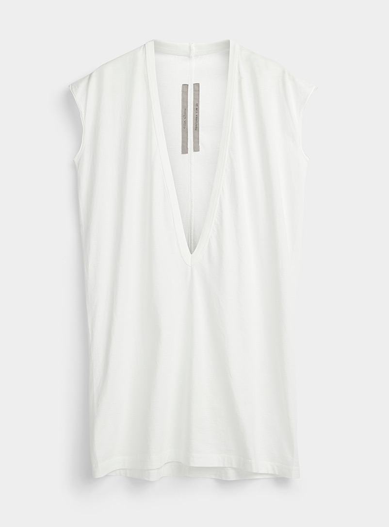 Rick Owens White Dylon deep V-neck T-shirt for men