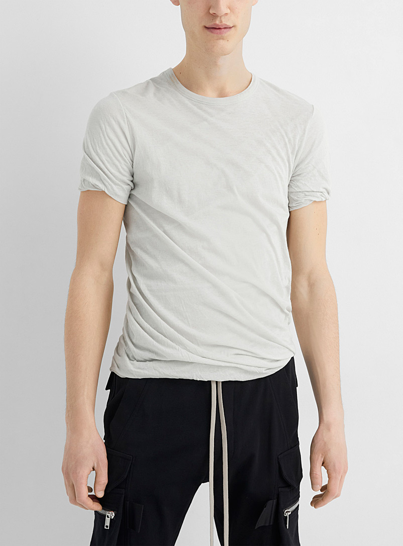 Rick Owens Ivory White Double-layer jersey tee for men