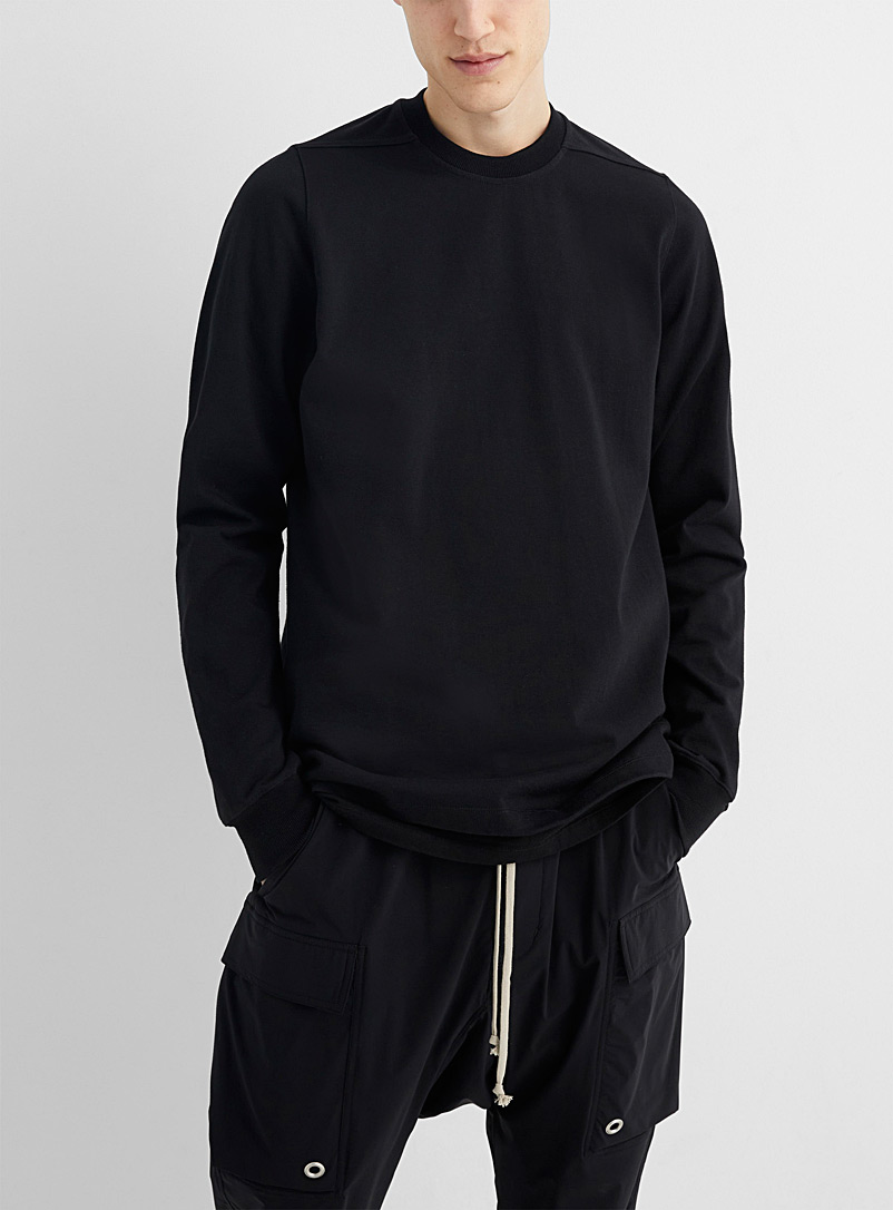 Rick Owens Black Long-sleeve structured jersey knit tee for men