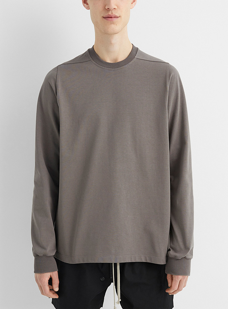 Rick Owens Ivory White Long-sleeve structured jersey knit tee for men