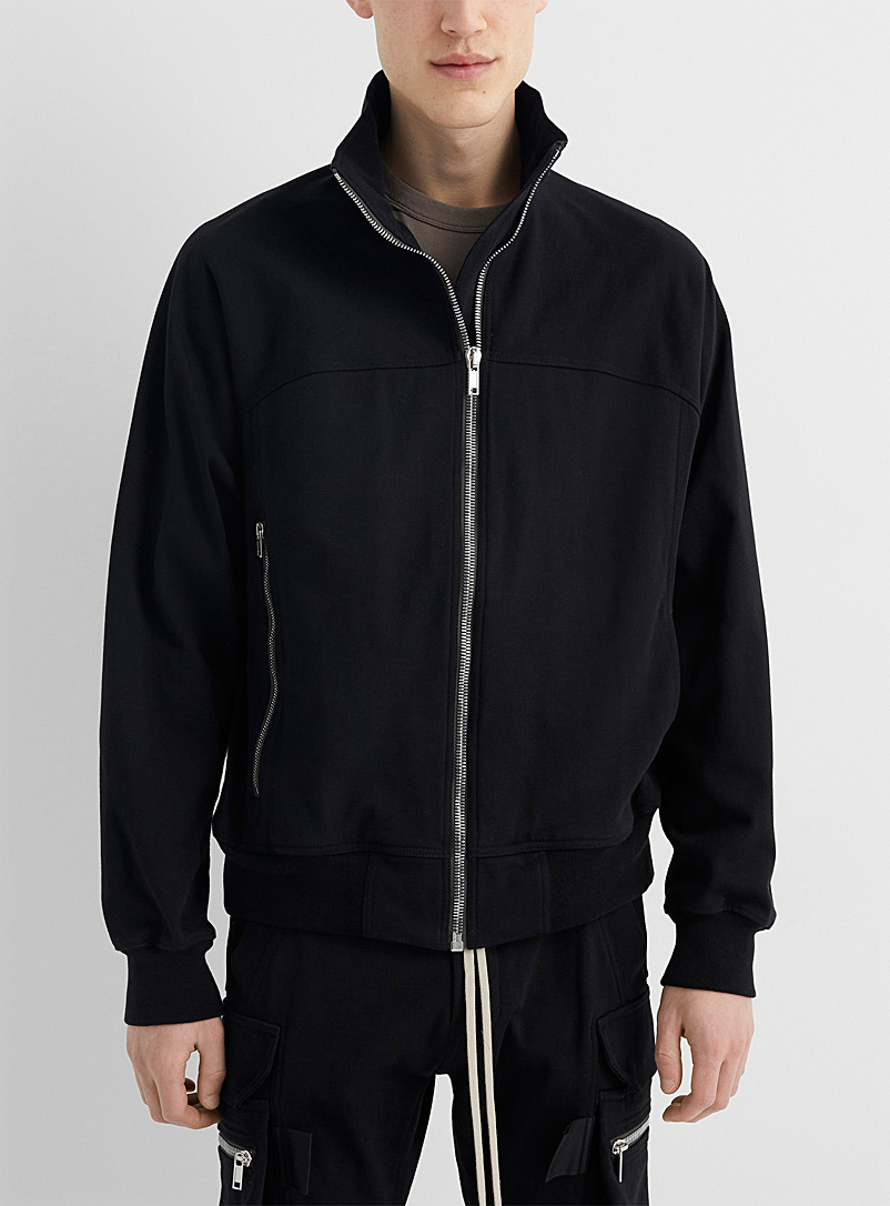 Rick Owens Black Silver zip solid sweatshirt for men