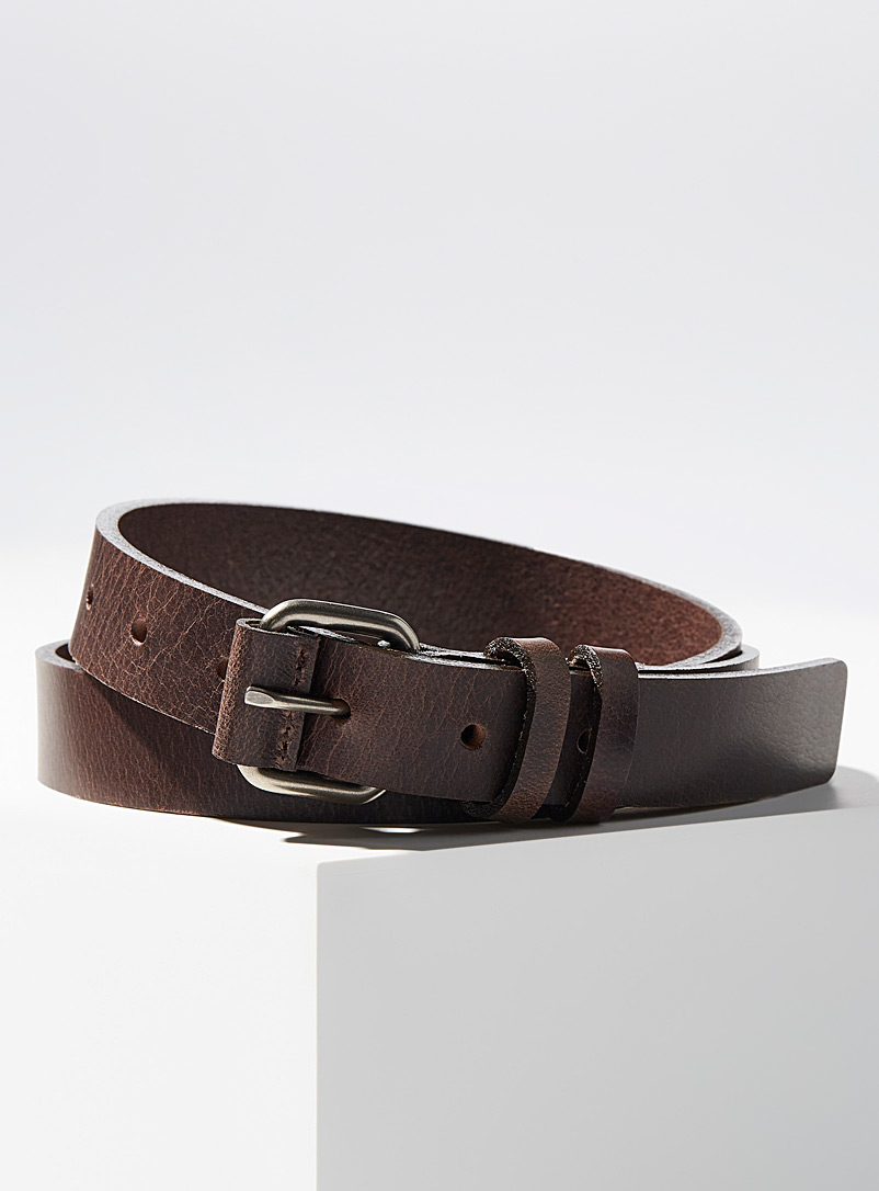Naked and Famous Denim Brown Buffalo thin belt for men