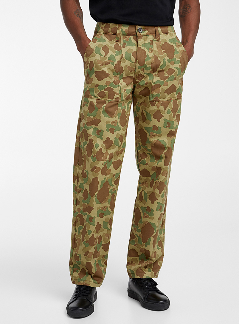 Naked and Famous Denim Patterned Brown Camo workwear pant  Straight fit for men