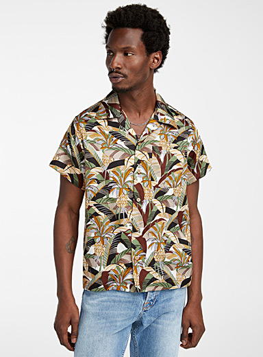Naked and Famous Denim Patterned Brown Aloha retro shirt for men
