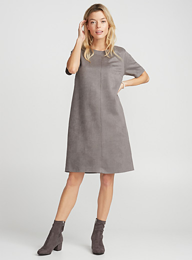 Faux-suede shift dress