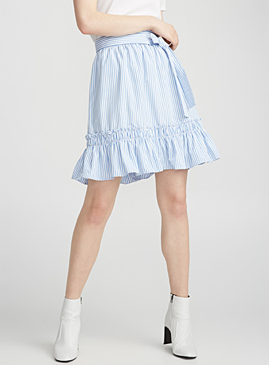 Stripe and ruffle poplin skirt