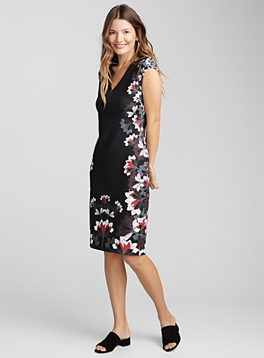 Printed neoprene cap-sleeve dress