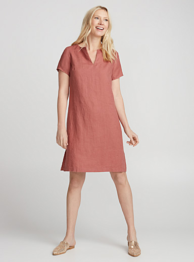 Pure linen shift dress