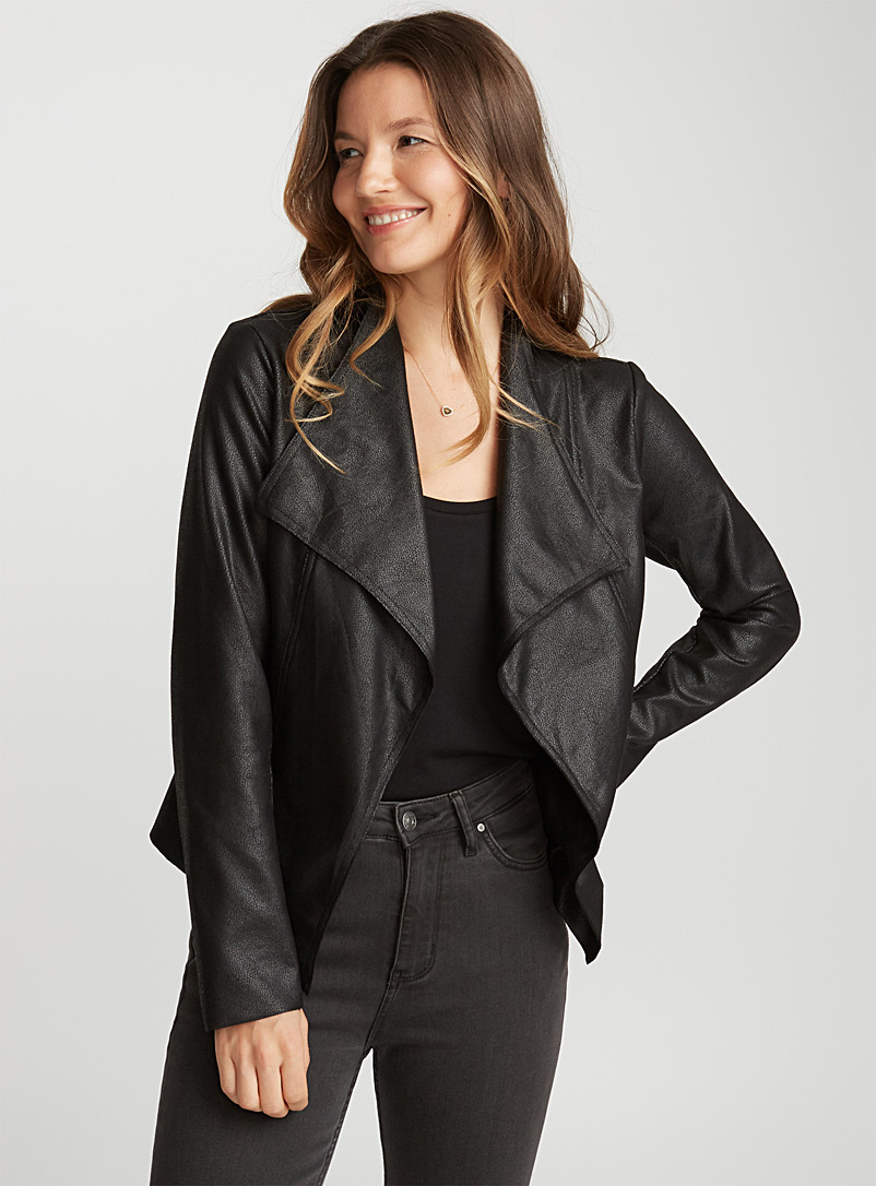 Draped-point faux-leather jacket - Jackets - Black