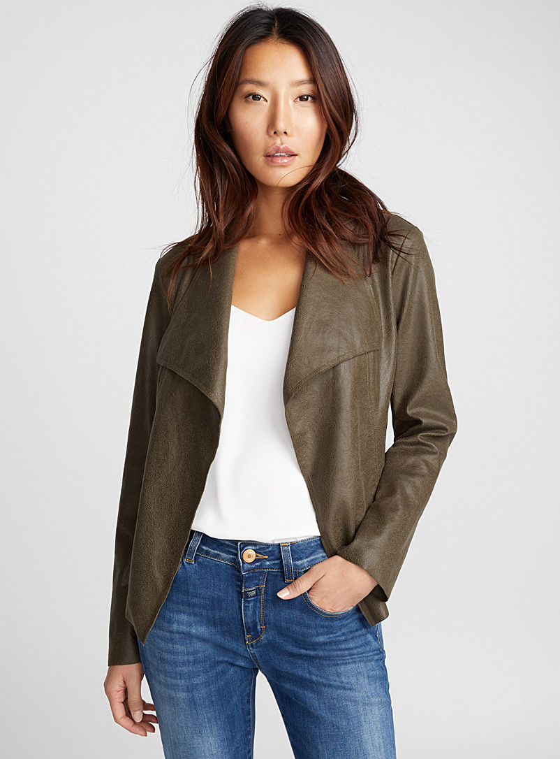 Draped-point faux-leather jacket - Jackets - Medium Brown