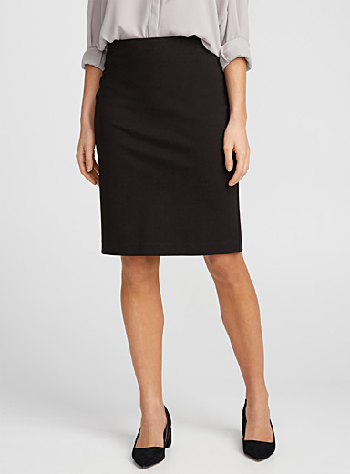 Straight structured jersey skirt