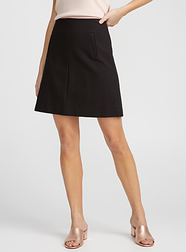 Engineered jersey flared skirt