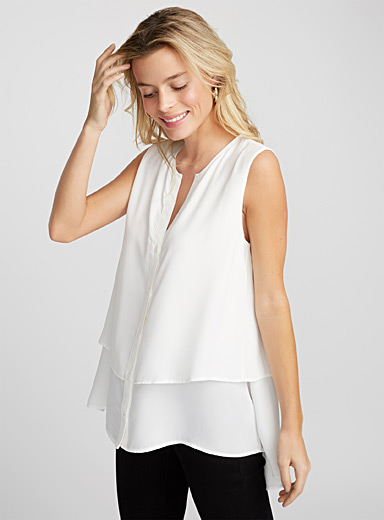 Two-tier buttoned blouse