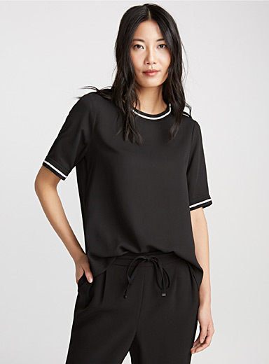 Rbbed-trim blouse