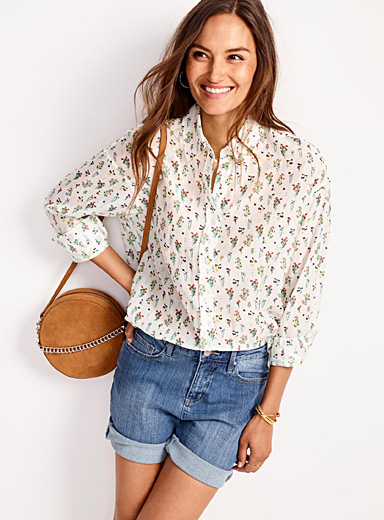 Printed cotton & silk voile shirt