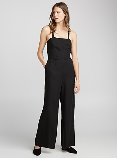 Crossed strap lyocell jumpsuit