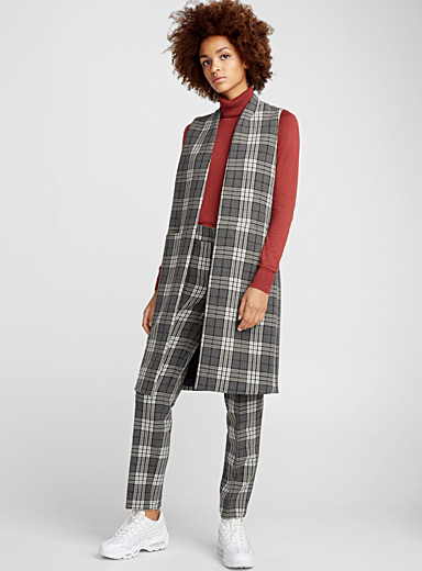 English plaid long jacket